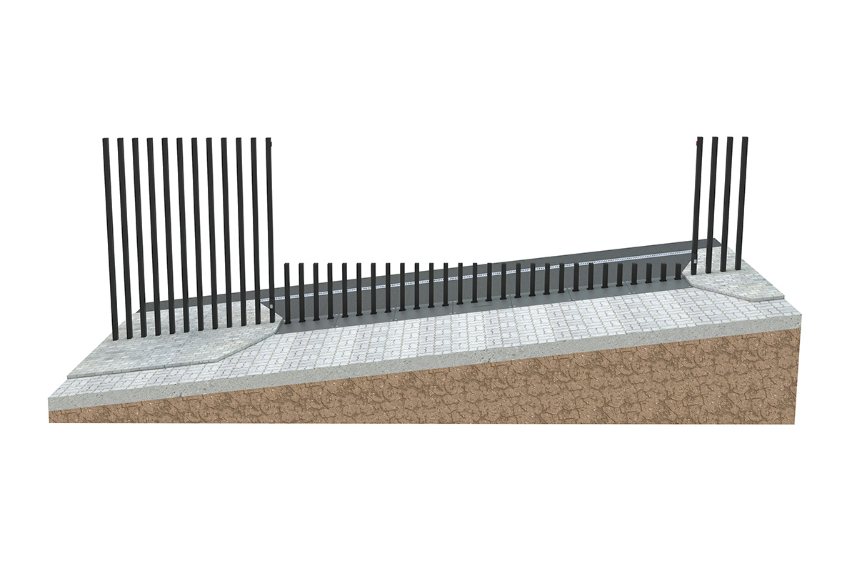 Parallel slope - top fence line is horizontal